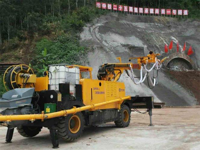 耿力混凝土湿喷台车承建尚岗1#隧道